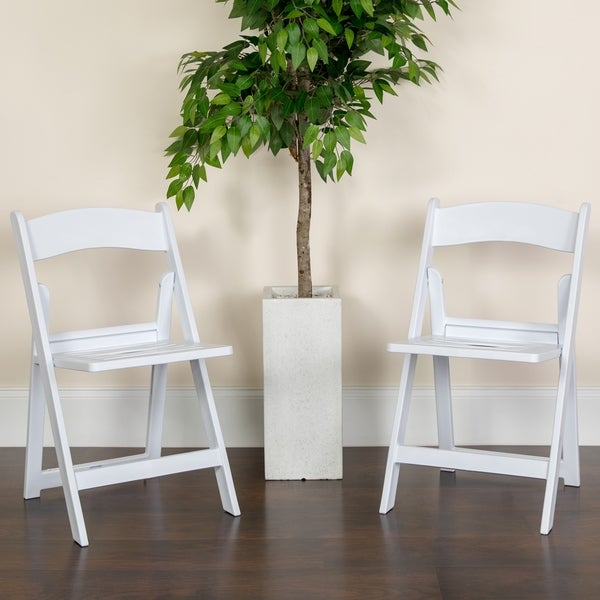 4PK 1000 lb. Capacity White Resin Folding Chair with Slatted Seat