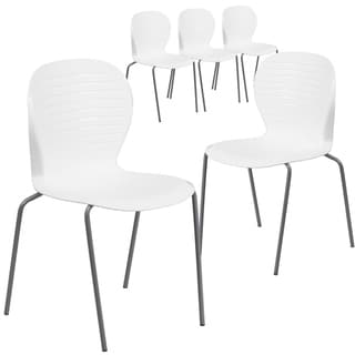 5PK 551 lb. Capacity Contemporary Ribbed Back Design Stack Chair