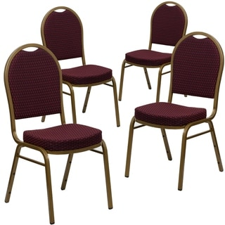 4PK Dome Back Stacking Banquet Chair - Gold Vein Frame