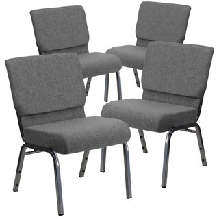 "4PK 21""W Stacking Church Chair - Silver Vein Frame"