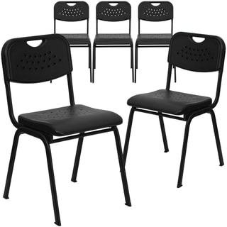 5PK 880 lb. Capacity Black Plastic Stack Chair with Open Back and Black Frame