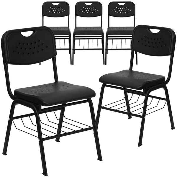 5PK 880 lb. Capacity Black Plastic Chair with Black Frame and Book Basket