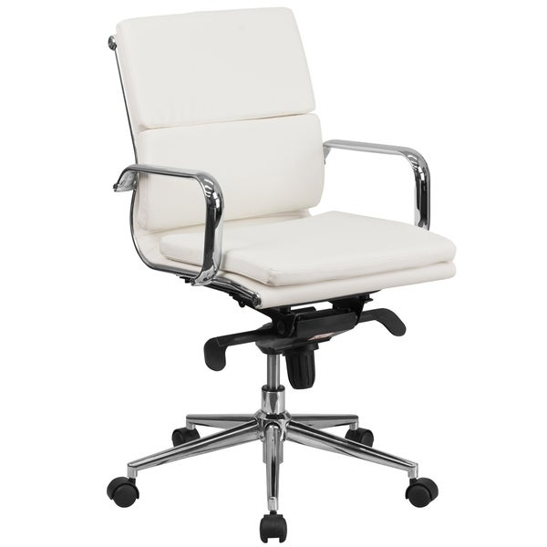 Mid-Back LeatherSoft Swivel Office Chair w/Synchro-Tilt Mechanism &Arms