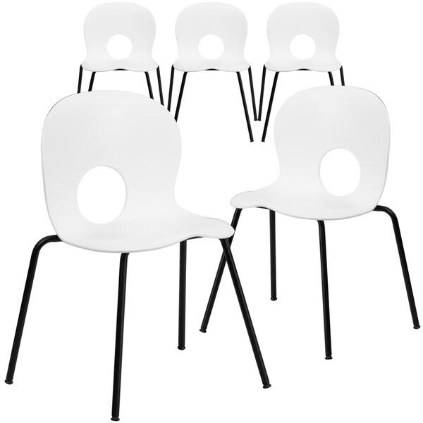 5PK 770 lb. Capacity Designer Plastic Stack Chair with Black Frame