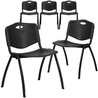 5PK 880 lb. Capacity Black Industrial Plastic Stack Chair with Carrying Handle