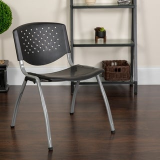 880 lb. Capacity Black Perforated Back Plastic Stack Chair with Gray Frame