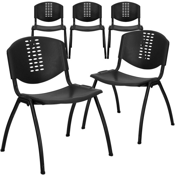 5PK 880 lb. Rated Black Plastic Stack Chair - Oval Cutout Back and Black Frame