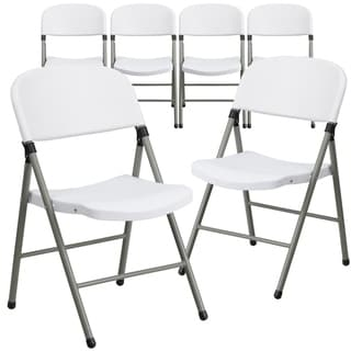 6PK 330 lb. Capacity White Plastic Folding Chair with Gray Frame - Event Chair