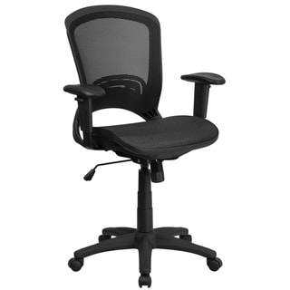 Mid-Back Transparent Black Mesh Executive Swivel Office Chair w/ Adjustable Arms