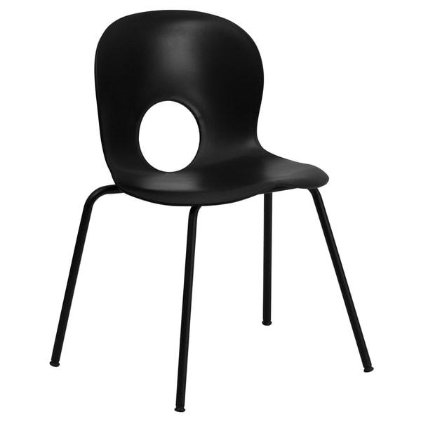 770 lb. Capacity Designer Plastic Stack Chair with Black Frame