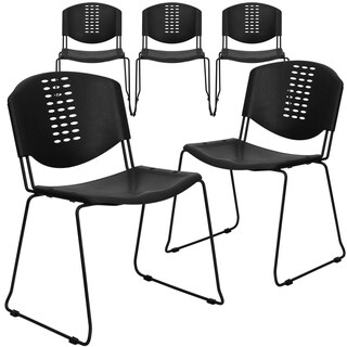 5PK 400 lb. Capacity Black Plastic Stack Chair - Black Frame and Textured Seat