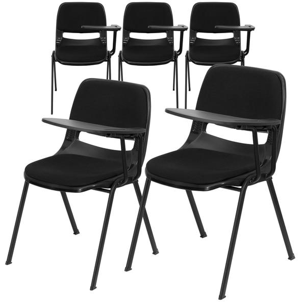 5PK Black Padded Ergonomic Shell Chair with Left Handed Flip-Up Tablet Arm