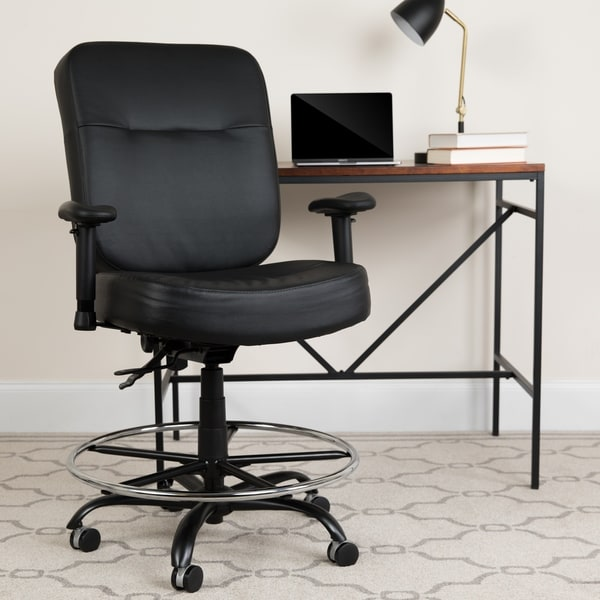 Big & Tall 400 lb. Rated Black REC Back LeatherSoft Ergonomic Drafting Chair