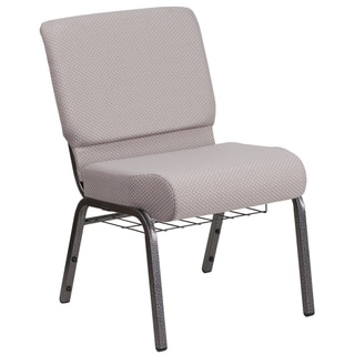 "21""W Church Chair in Gray Dot Fabric with Book Rack - Silver Vein Frame"