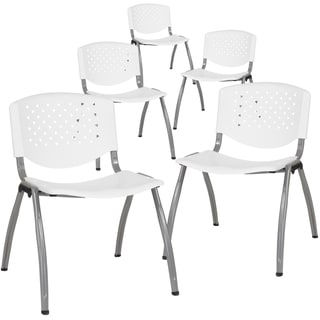 5 Pack Home and Office Plastic Guest Stack Chair with Perforated Back