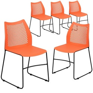 5 Pack Home and Office Sled Base Stack Chair with Air-Vent Back-Guest Chair