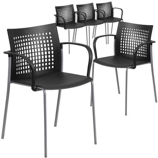 5PK 551 lb. Capacity Black Stack Chair with Air-Vent Back and Arms
