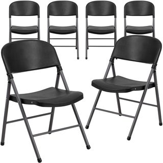6PK 330 lb. Capacity Plastic Folding Chair with Charcoal Frame