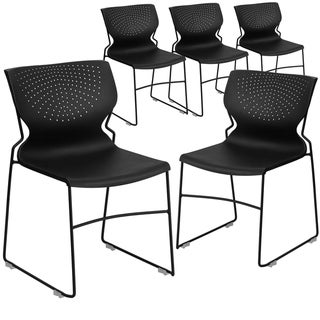 5 Pack Home and Office Full Back Guest Stack Chair with Gray Frame