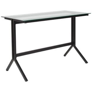 Lancaster Home Metal and Glass Modern Computer Desk
