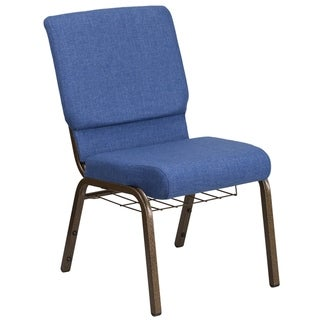 """18.5""""W Church Chair with Cup Book Rack - Silver Vein Frame"""