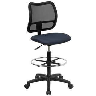 Mid-Back Mesh Swivel Adjustable Height Drafting Chair & Waterfall Seat
