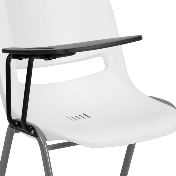5 Pk Black Ergonomic Shell Chair with Right Handed Flip-Up Tablet Arm