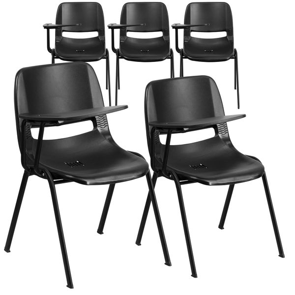 5 Pack Ergonomic Shell Chair with Right Handed Flip-Up Tablet Arm Desk