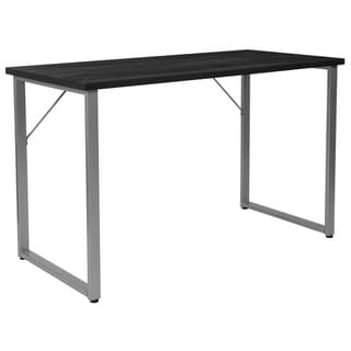 Black Finish Computer Desk with Silver Metal Frame - Home Office Furniture