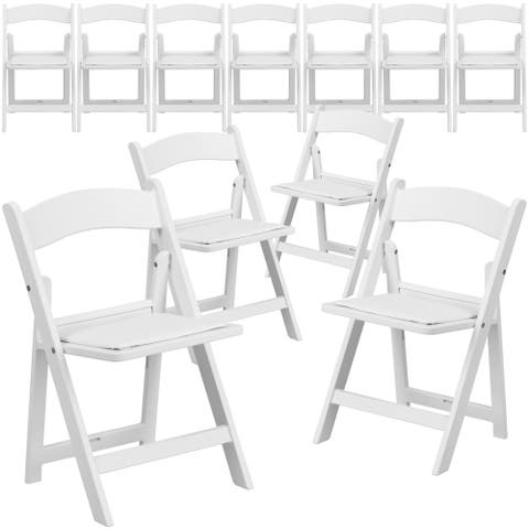 11 Pack Kids White Resin Folding Chair with White Vinyl Padded Seat