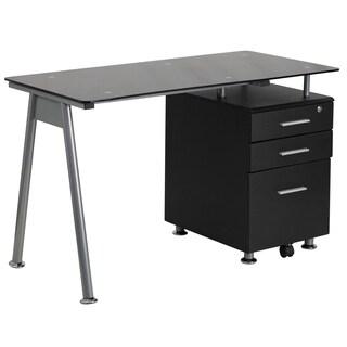 Metal/Wood/Glass Black Pedestal Computer Desk