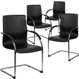 4PK Black Vinyl Side Reception Chair w/ Chrome Sled Base - Lobby & Guest Seating