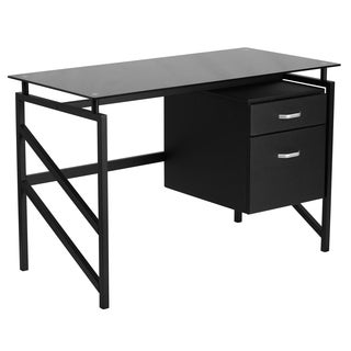 Lancaster Home Black Glass Computer Desk with Glass Top
