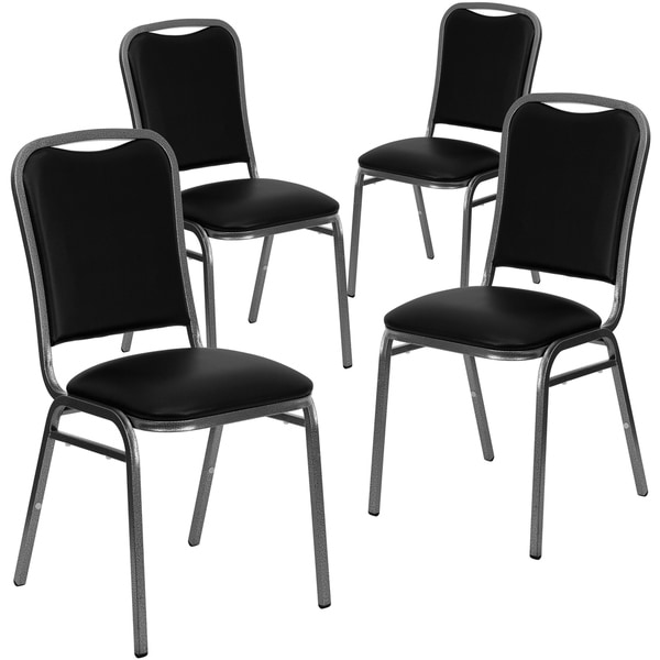 4PK Angled Back Stacking Banquet Chair in Black Vinyl with Silver Vein Frame