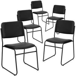 5PK 1000 lb. Rated Fabric High Density Stacking Chair - Chrome Sled Base