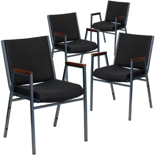 4PK Heavy Duty Navy Fabric Stack Chair with Arms - Reception Furniture