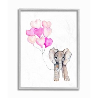 The Kids Room By Stupell Baby Elephant with Pink Heart Balloons Gray Framed Art, 11 x 14, Proudly Made in USA