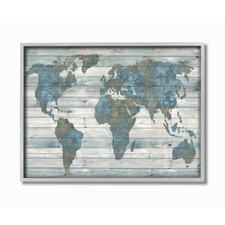 The Stupell Home Decor Slate Blue and Tan Rustic Planked Look Weathered World Map Gray Framed Art, 11 x 14, Proudly Made in USA