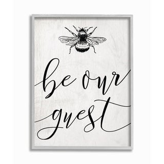 The Stupell Home Decor Be Our Guest Bumble Bee Script Typography Gray Framed Art, 11 x 14, Proudly Made in USA
