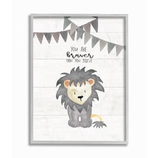 The Kids Room By Stupell You Are Braver Lion Gray Framed Art, 11 x 14, Proudly Made in USA