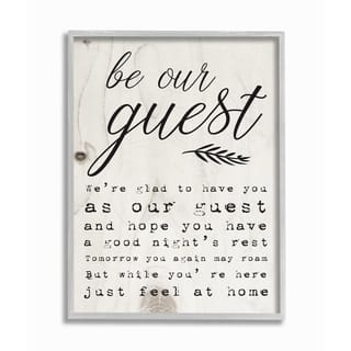 The Stupell Home Decor Be Our Guest Poem Cursive Gray Framed Art, 11 x 14, Proudly Made in USA