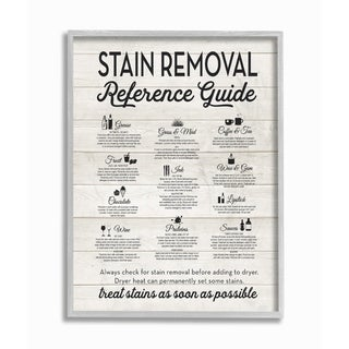 The Stupell Home Decor Stain Removal Reference Guide Typography Gray Framed Art, 11 x 14, Proudly Made in USA