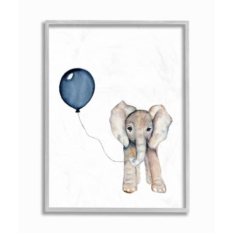 Taylor & Olive Elephant with Blue Balloon Framed Art