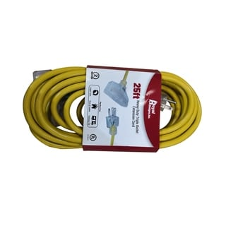 Royal Designs Indoor/Outdoor Heavy Duty 25 ft Yellow Extension Cord with Indicator light
