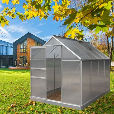 ALEKO Outdoor Walk-In Poly-carbonate Greenhouse with Aluminum Frame 98 x 75 x 77 inches - Silver