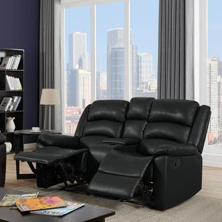 ProLounger 2 Seat Pillow Top Arm Recliner Loveseat with Power Storage Console