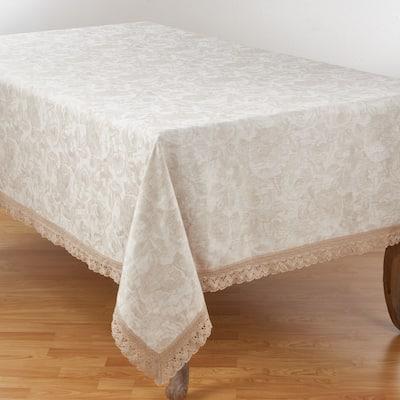 Jacquard Tablecloth with Lace Trim Design