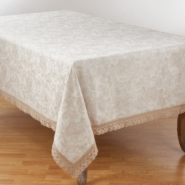 Jacquard Tablecloth With Lace Trim Design
