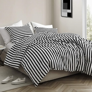 Onyx Black and White Striped - Oversized Comforter - 100% Cotton Bedding