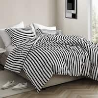 3efe0eb50d Onyx Black and White Striped - Oversized Comforter - 100% Cotton Bedding